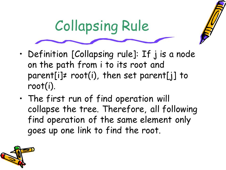 Collapsing Rule Definition [Collapsing rule]: If j is a node on the path from i to its root and parent[i]≠ root(i), then set parent[j] to root(i).